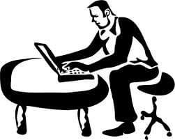 working behind computer2