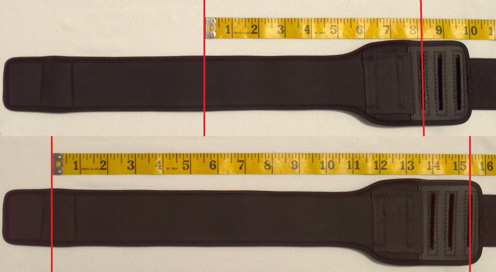 Longest and shortest arm cuff adjustments (Regular size)