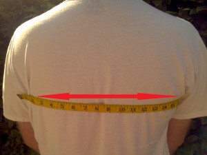 Measure your chest width from armpit to armpit